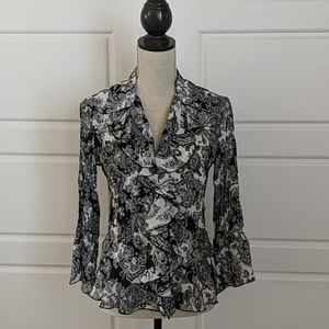 Sunny Leigh Small Black White Ruffled Blouse